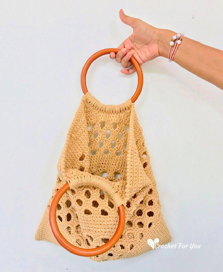Crochet Honeycomb Trellis Tote Bag