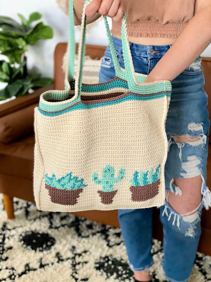 Crochet Plant Lady Tote Bag