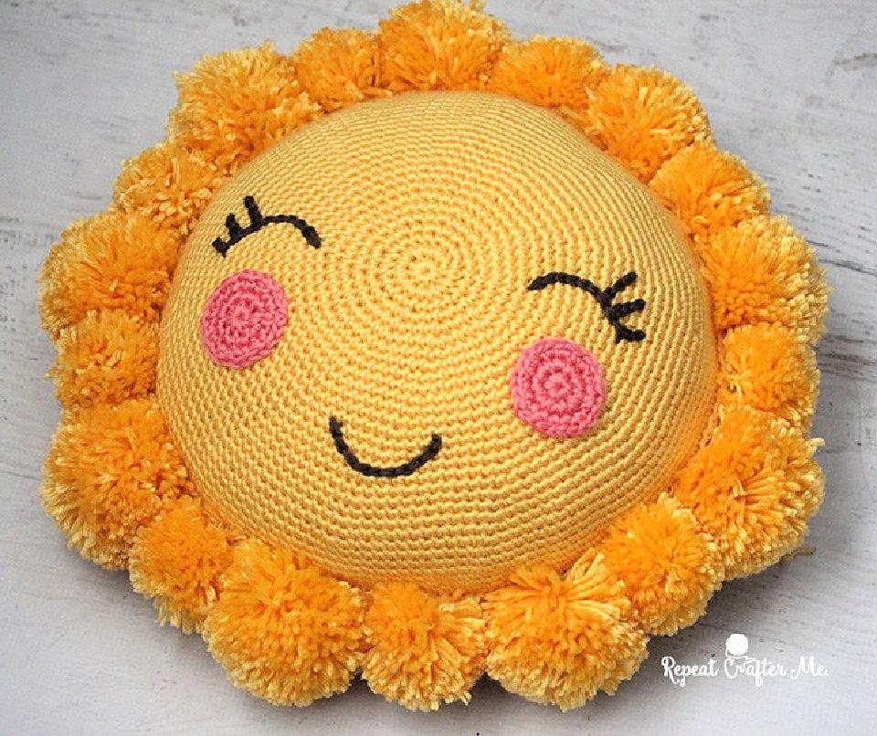 Crochet Pompom Sunshine Pillow