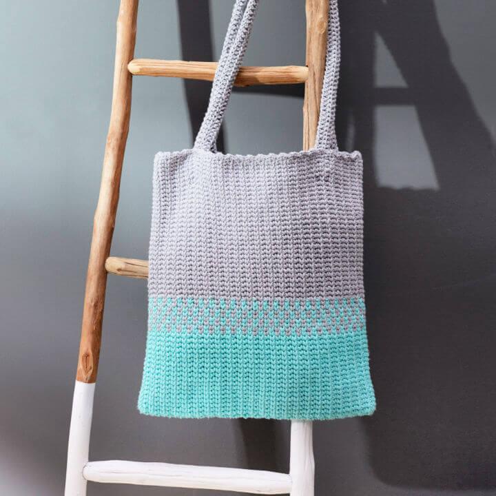 Crochet Red Heart Split Tote Bag