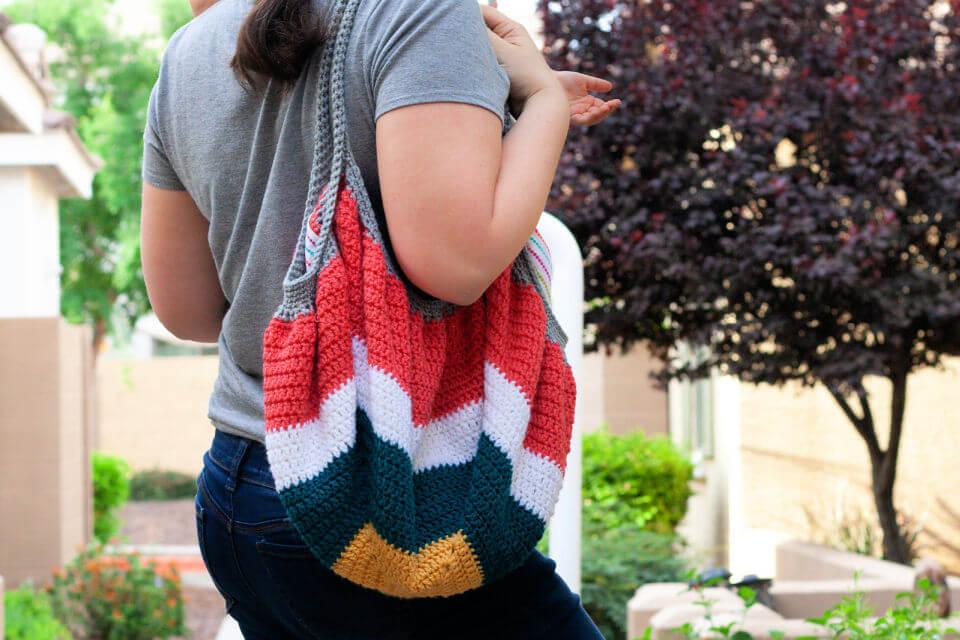 Crochet Tote Square Bottom Bag