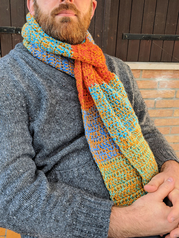 Crocheted Mens Scarf Pattern