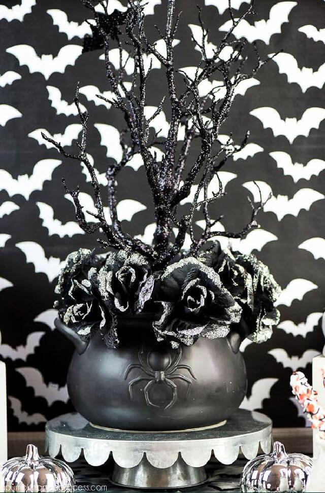 DIY Black Rose Halloween Centerpiece