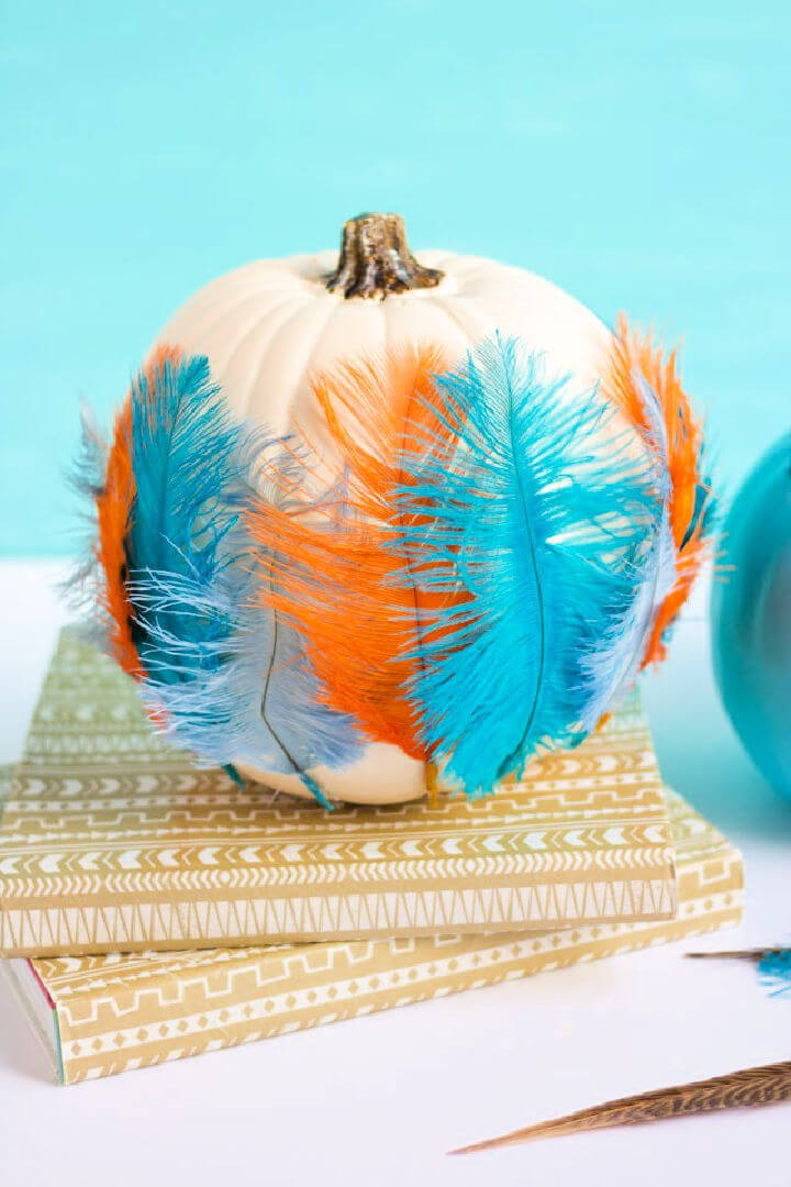 DIY Feather Pumpkin