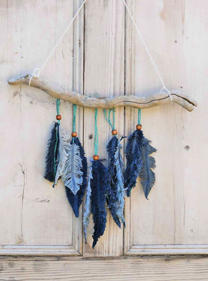 Denim Feather Wall Hanging