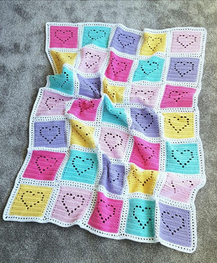 Filet Heart Crochet Baby Blanket