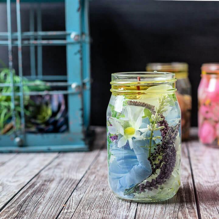 Floral Mason Jar Oil Lamps