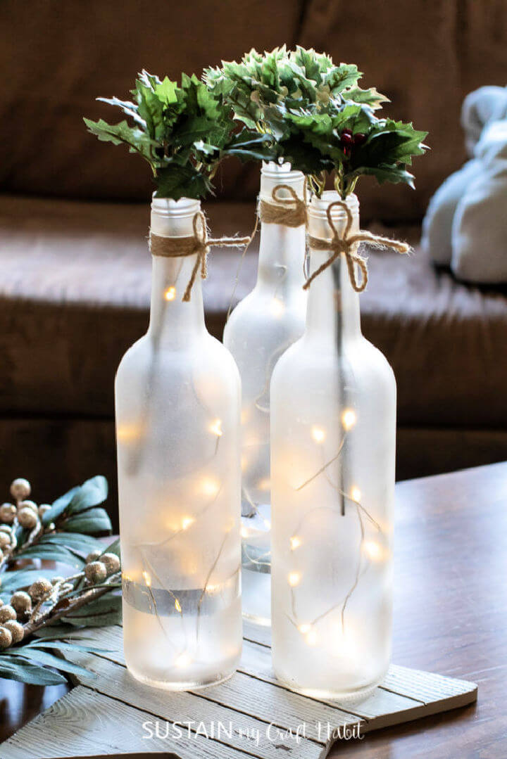 Frosted Wine Bottle Centerpiece