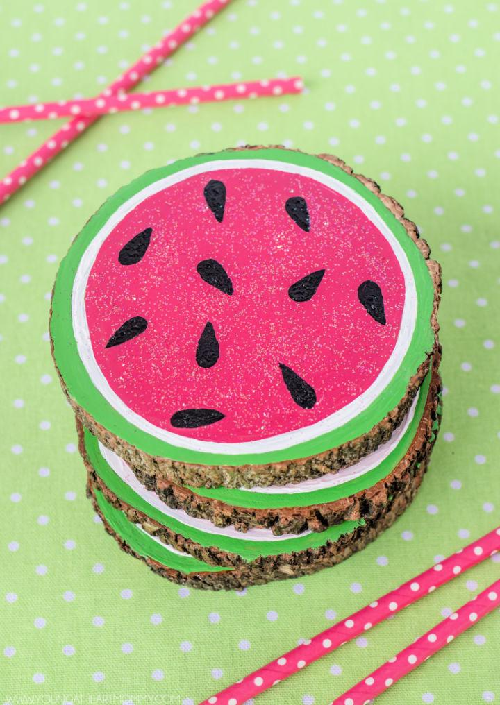 Fun Wooden Watermelon Coasters