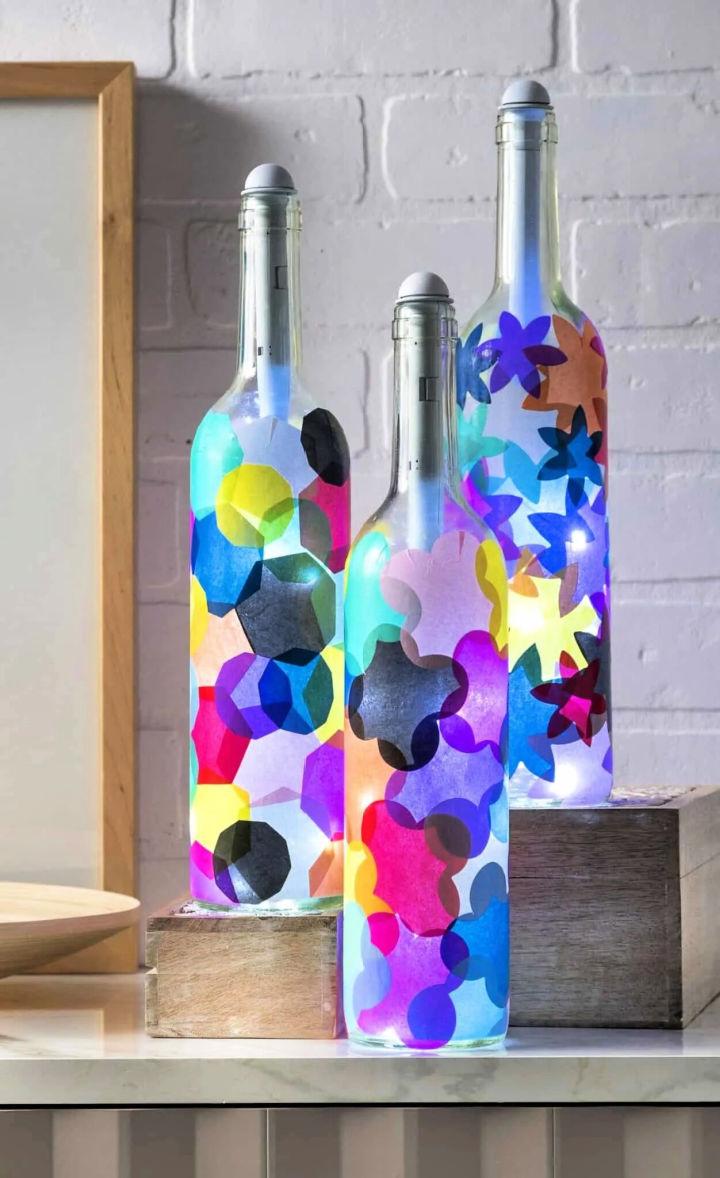 Glass Wine Bottle Lanterns
