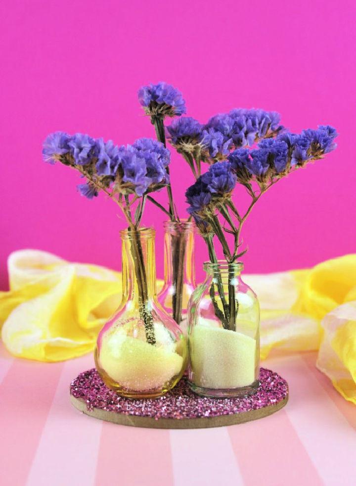 Glitter Flower Vase from Glass Bottle