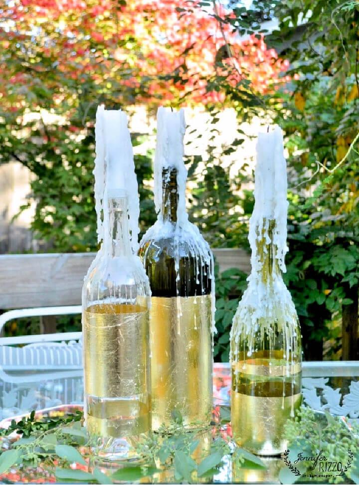 Gold Leaf Wine Bottles for Centerpiece