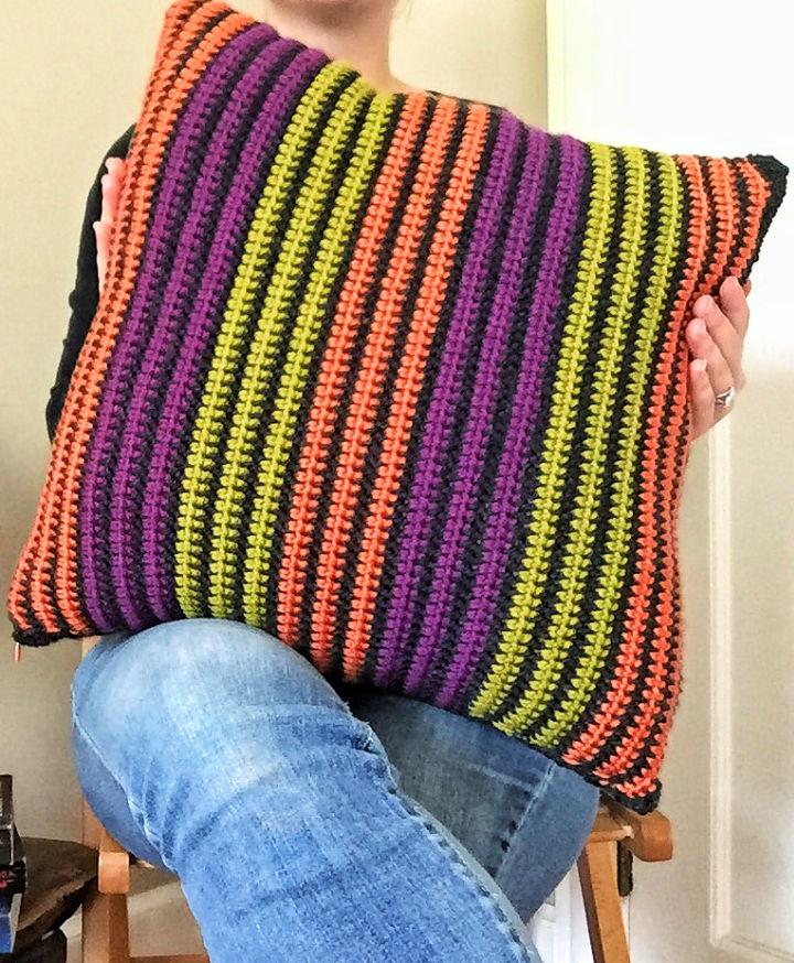 Halloween Striped Crochet Pillow