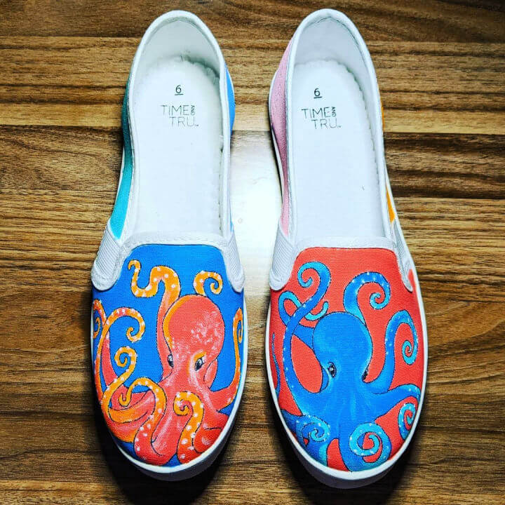 Hand Painted Dueling Octopus Shoes