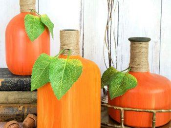 Hand Painted Glass Bottle Pumpkins