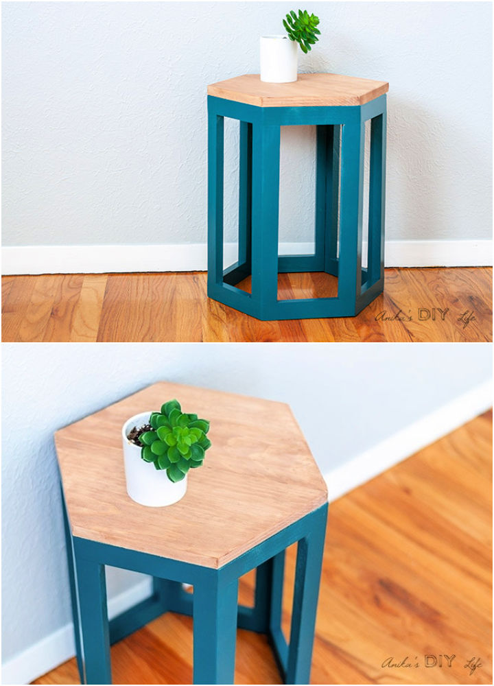 Hexagon End Table Using One Board