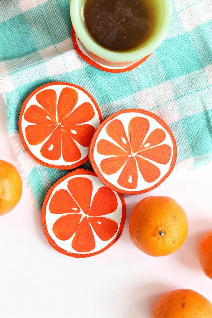 Homemade Orange Slice Coasters
