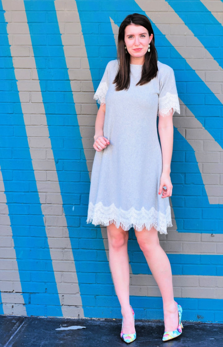 Lace Trimmed Fall Swing Dress