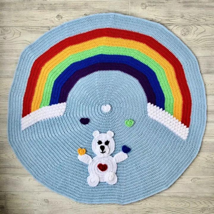 Love Bear Rainbow Crochet Baby Blanket