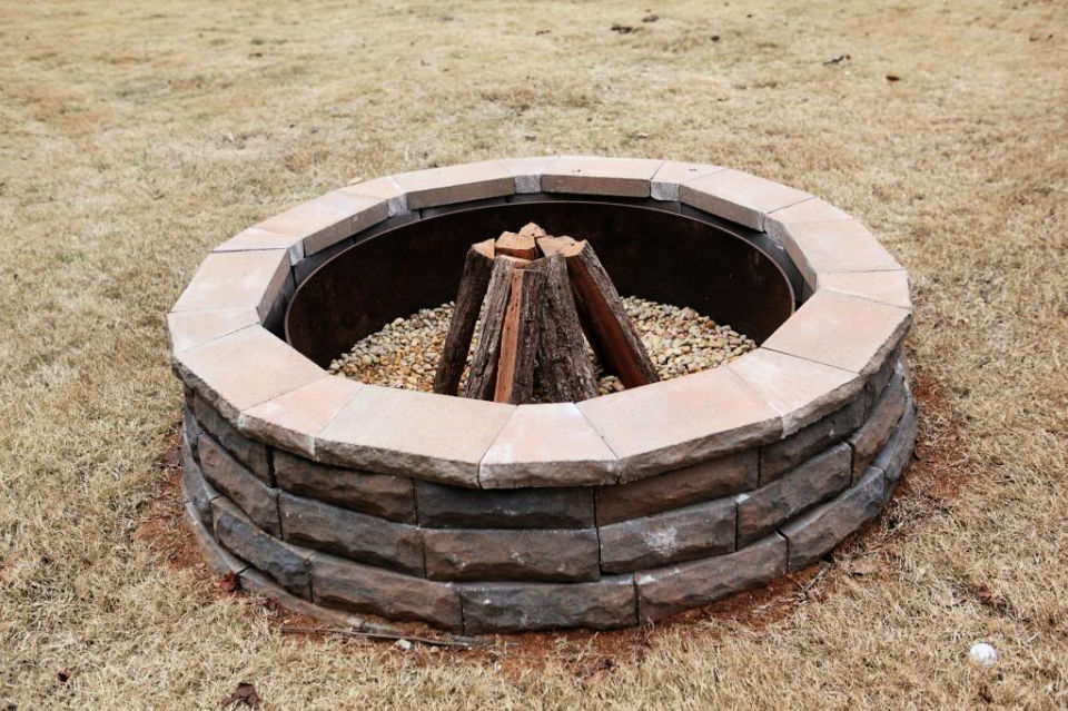 Metal Ring and Wall Block Fire Pit