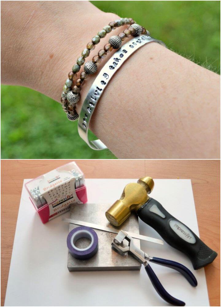 Metal Stamped Bangle Bracelet