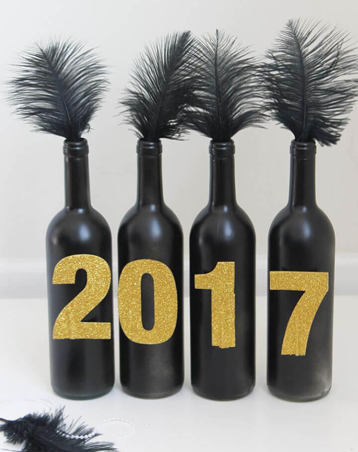 New Years Wine Bottle Centerpiece