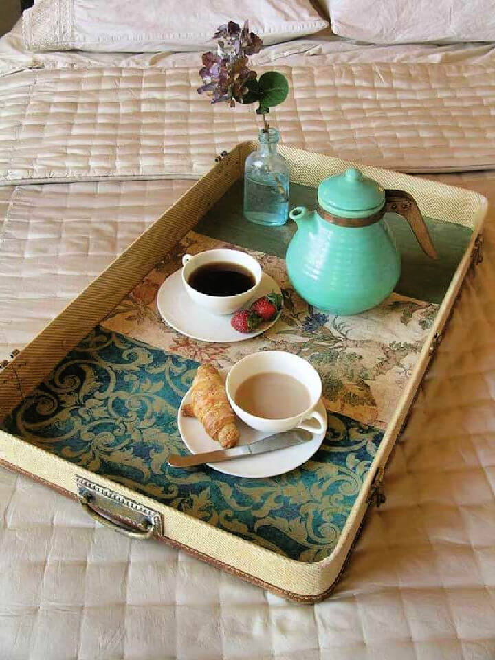 Old Suitcase Lid Turn Into Breakfast Tray