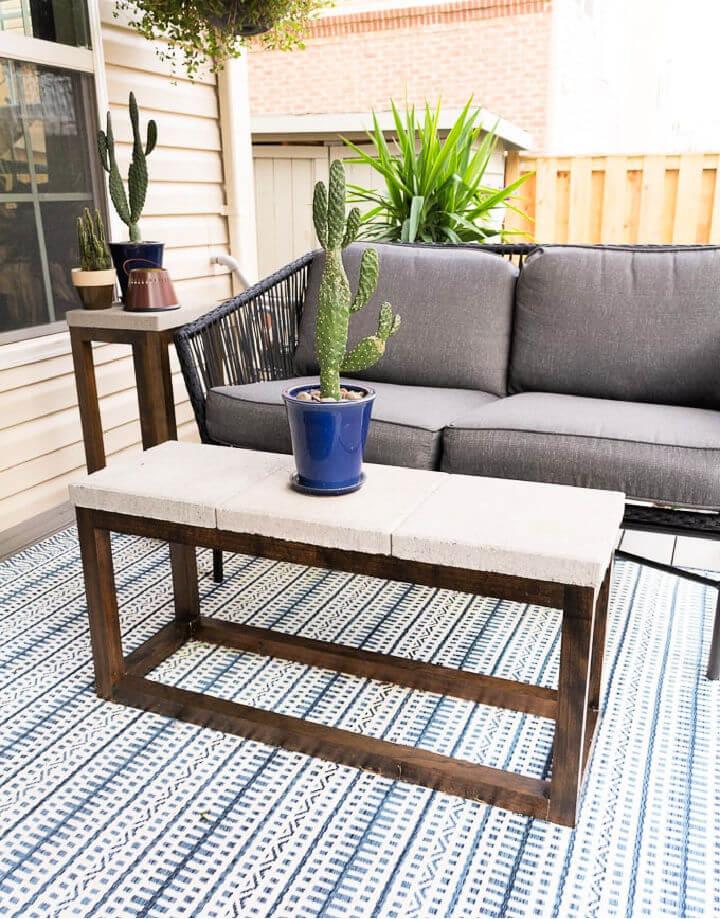 Outdoor Coffee Table with Concrete Top