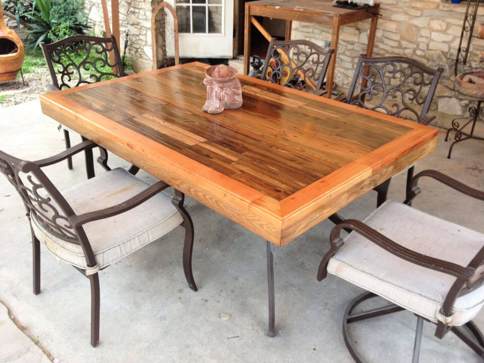 Outdoor Patio Table with Tile Top