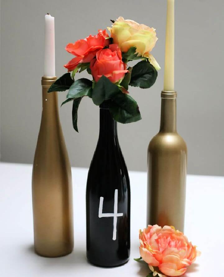 Painted Wine Bottle Centerpiece
