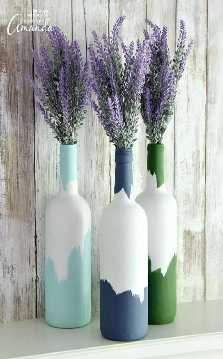 Painted Wine Bottles Centerpiece
