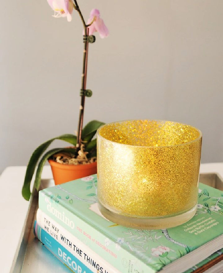 Personalized Glitter Candle Holder