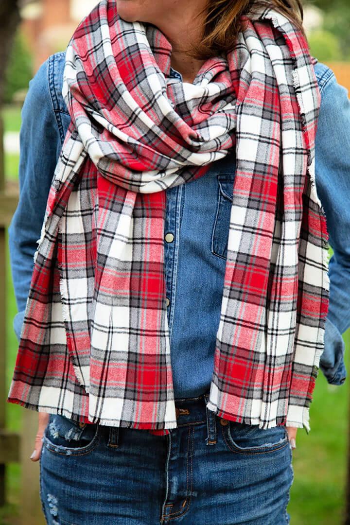 Plaid Flannel Blanket Scarf