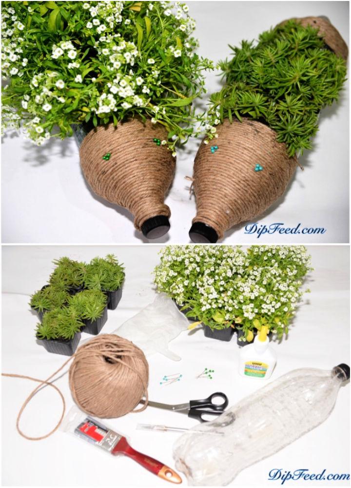 Plastic Bottle Hedgehog Planters
