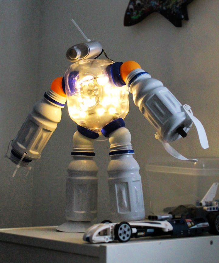Plastic Bottle Robot Night Light