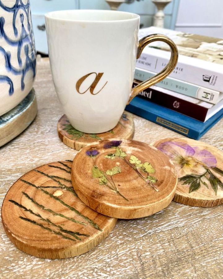 Pressed Flower Wooden Coasters