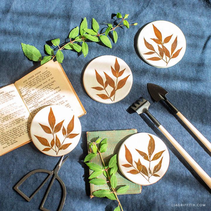 Pressed Leaf Clay Coasters