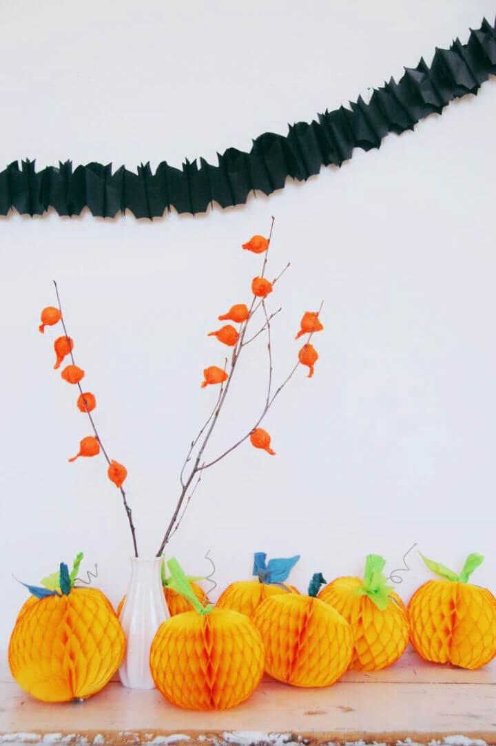 Pumpkin Tissue Honeycomb Balls Centerpiece