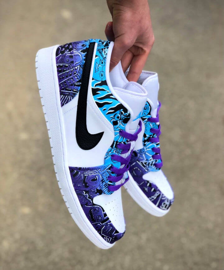 Purple and Blue Fade Custom Shoes