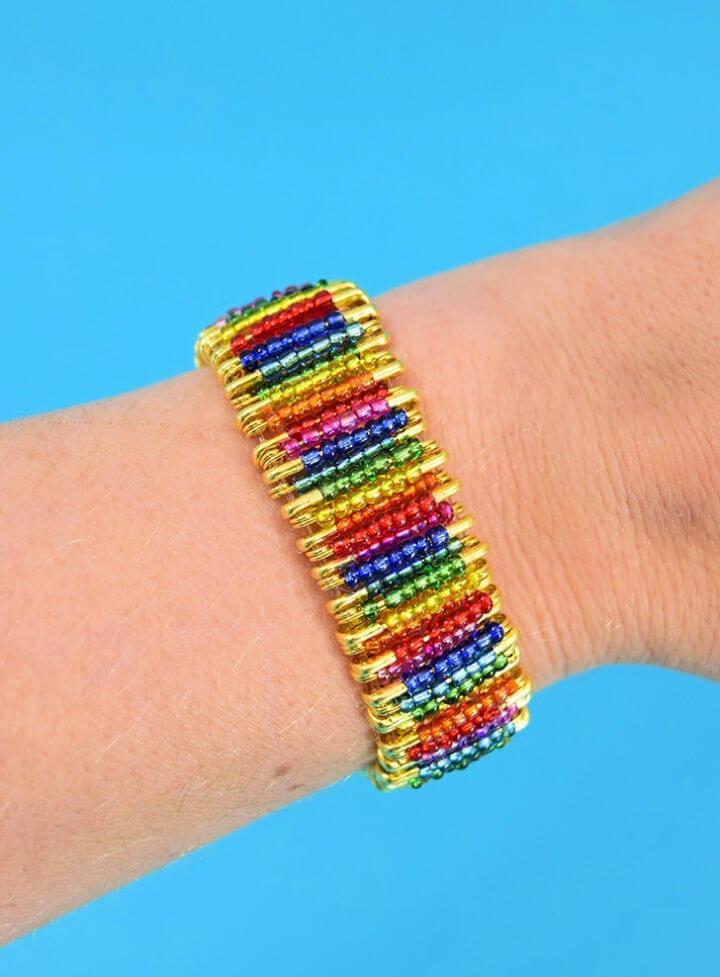 Rainbow Beaded Safety Pin Bracelet