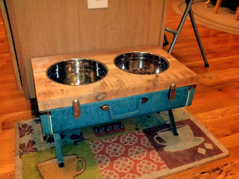 Raised Dog Bowls from Vintage Suitcase