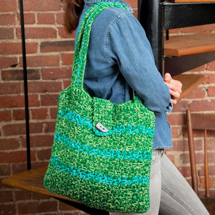 Red Heart Crochet Trendy Tote Bag