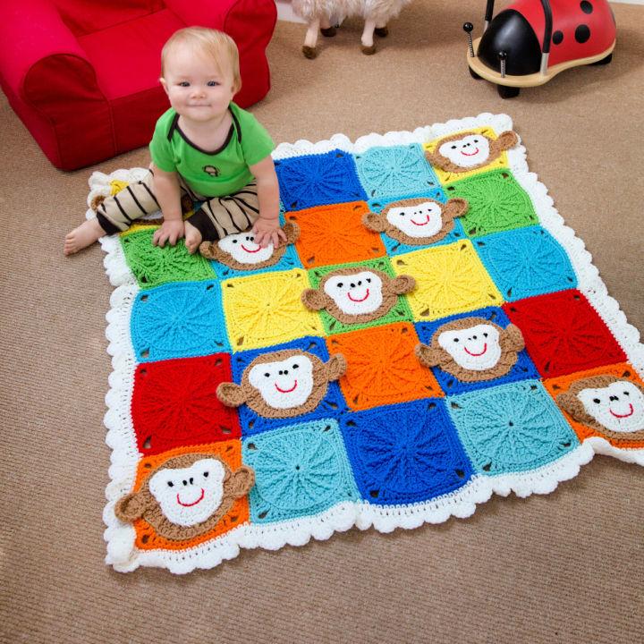 Red Heart Monkey Around Crochet Baby Blanket
