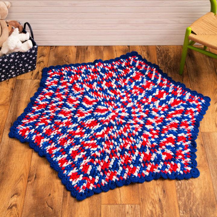 Red Heart Patriotic Hexagon Crochet Baby Blanket
