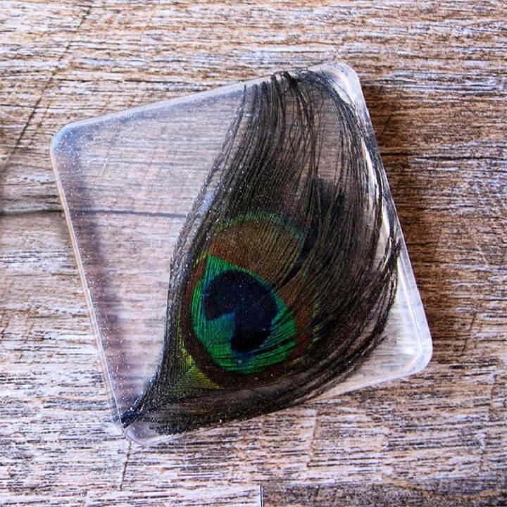Resin Peacock Feather Coaster