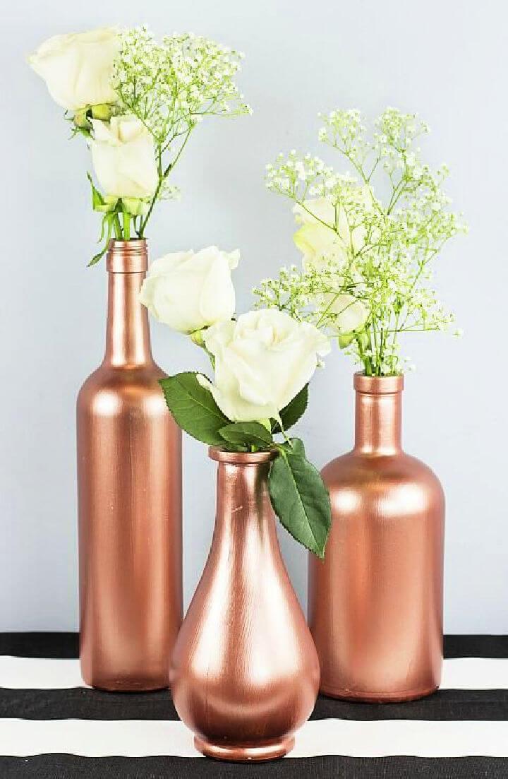 Rose Gold Wine Bottle Centerpiece