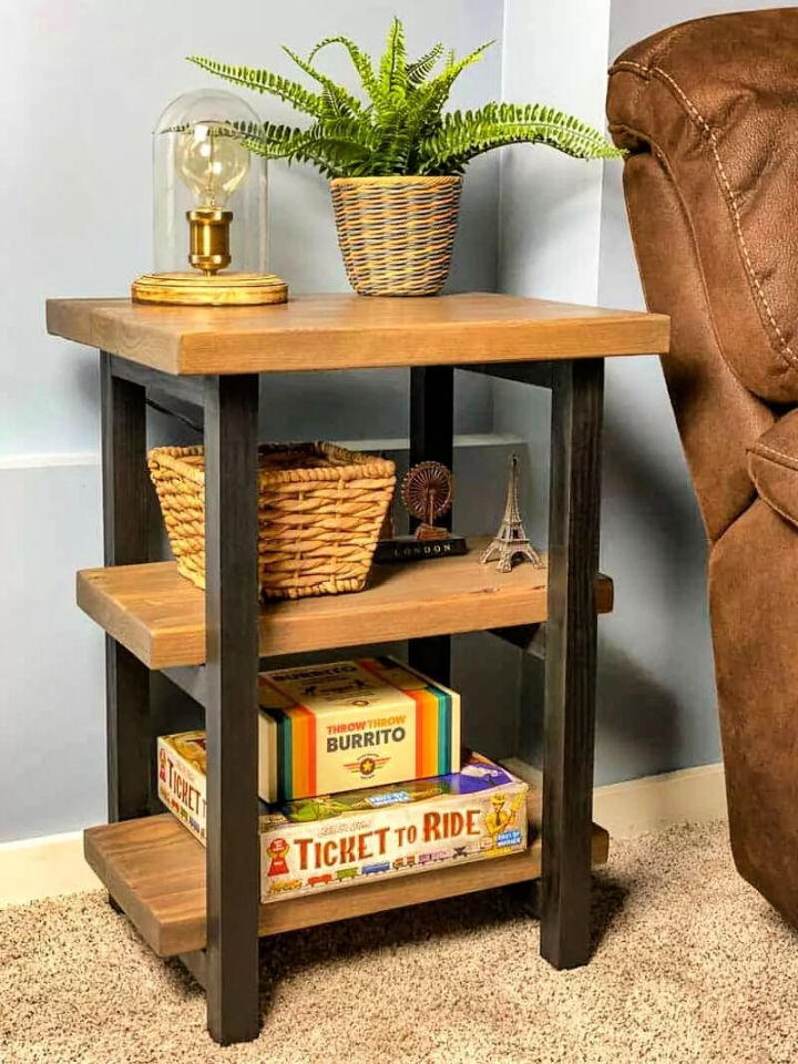 Rustic Wooden End Table