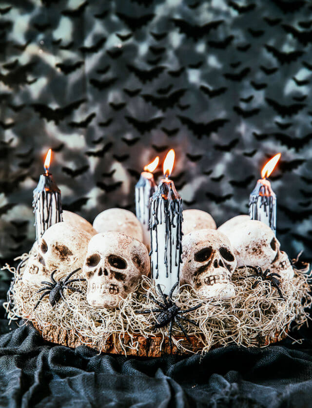 Skeleton Head Candle Centerpiece For Halloween