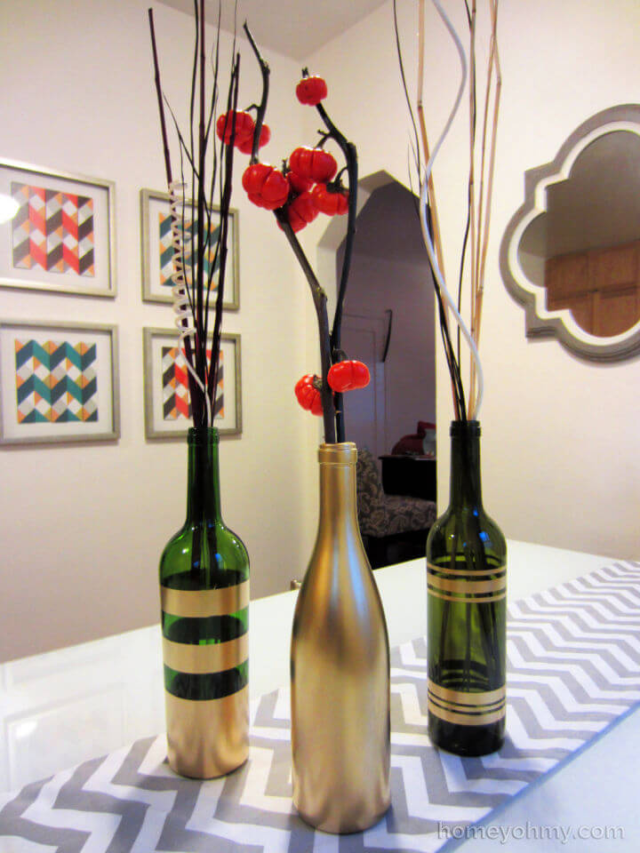 Spray Painted Wine Bottles for Centerpiece