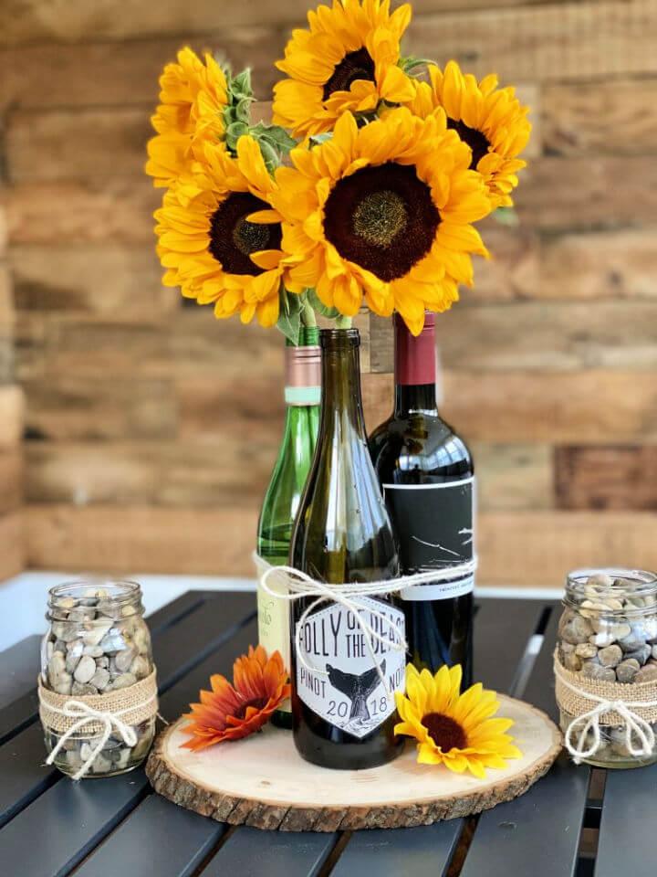 Sunflower Wine Bottle Centerpiece
